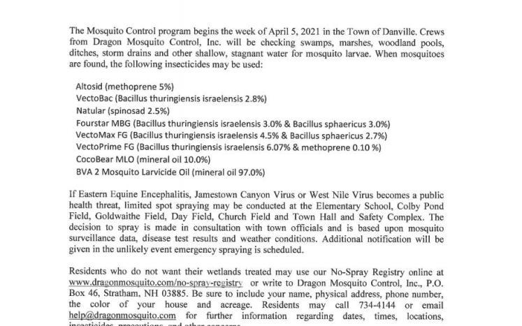 Public Notice - Mosquito Control